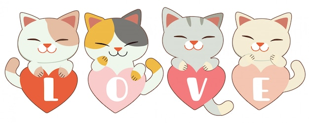 The character of cute cat garps the heart on white
