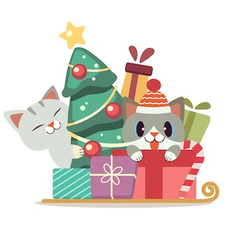 The character of cute cat in the gift box and christmas tree in flat  style. illustration