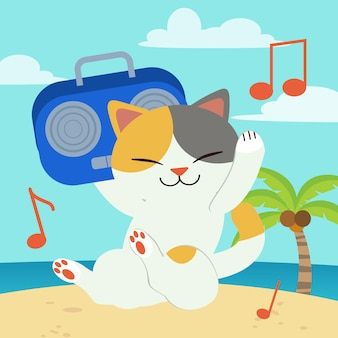 The character of cute cat holding a radio and listen the music on the beach and blue sky.
