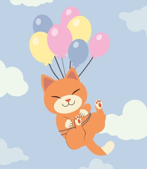 The character of cute cat holding a rainbow balloon on the sky with a cloud.