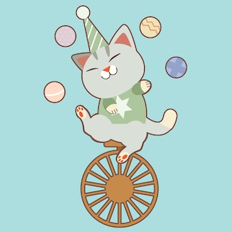 Character of cute cat playing a balls and sitting on one wheel bycicle.