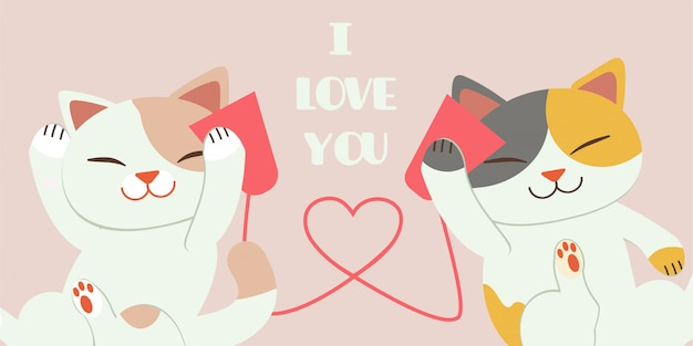 The character of cute cat playing with paper telephone with yarn look like heart