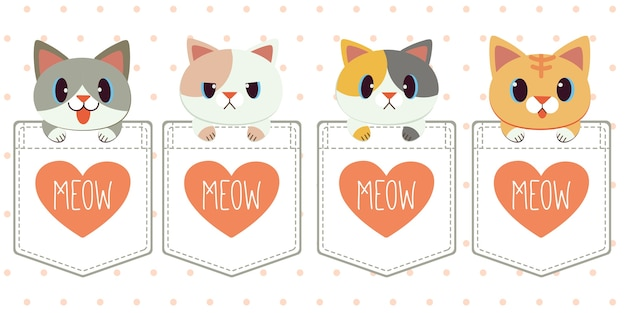 Character of cute cat in the pocket of shirt in flat style.