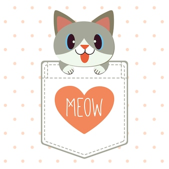 The character of cute cat in the pocket of shirt in flat vector style.