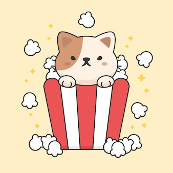 Character of cute cat in a popcorn bucket