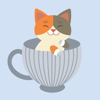 The character of cute cat sitting in the blue cup. the cat sitting in the mug cup.