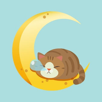 The character of cute cat sleeping on the moon.