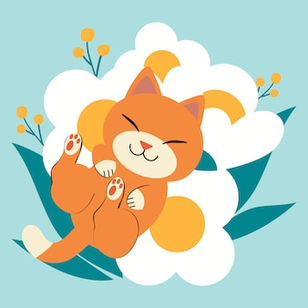 The character of cute cat sleeping on the very big white flower. cat look happy.