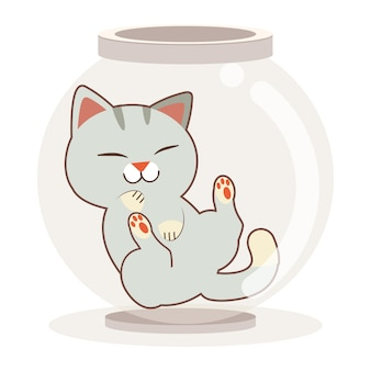The character of cute cat in the transparency bowl or jar on the white background. the character of cute cat sleepping in the transparency jar. the character of cute cat in flat  style.