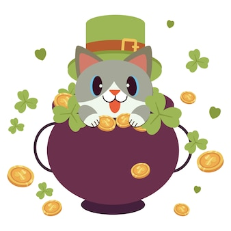 The character of cute cat wear a green top hat and clover leaves ribbon for st patrick's day theme with a lot of money coin.