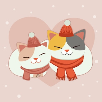 Premium Vector | The character of cute cat wear a scarf and winter hat on  the pink background with the heart