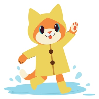 The character of cute cat wear the yellow raincoat and boots.