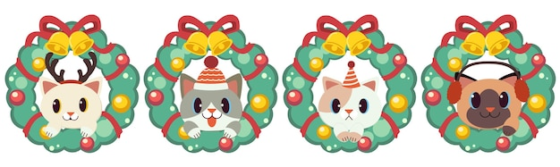 The character of cute cat with christmaswreath