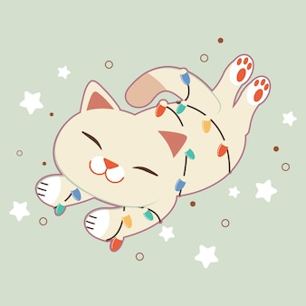 The character of cute cat with light bulb sleepping on green