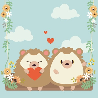 Character of cute couple in love hedgehog sitting a swing on the sky.