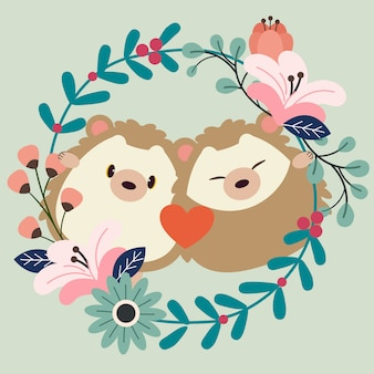 The character of cute couple in love of hedgehog with flowering