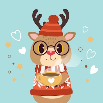 The character of cute deer wear a winter hat and glasses and holding a cup