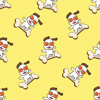 Character cute dog in fashion style sunglasses on big bone sign seamless pattern