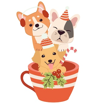 The character of cute dog and friends in the cup in christmas theme.