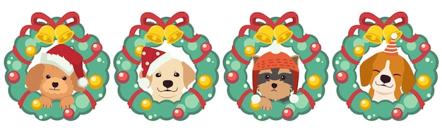 The character of cute dog with christmas wreath