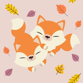 The character of cute fox with friend in seamless autumn leaf.