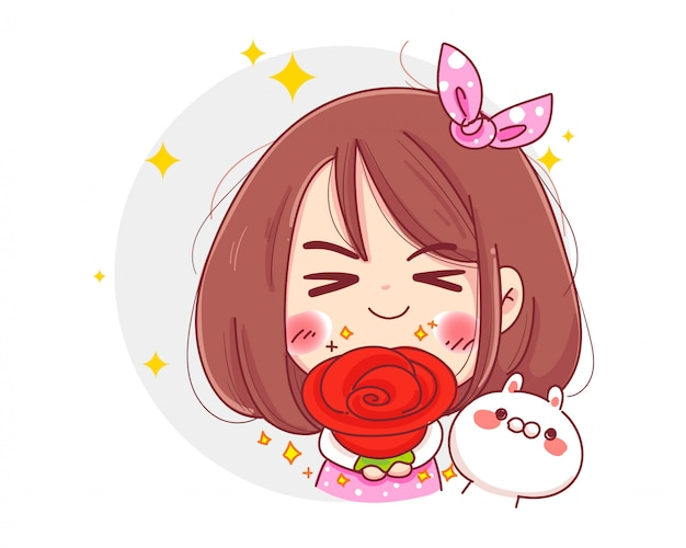 Character of cute girl holding red rose flower with happy valentines day isolated on white background.