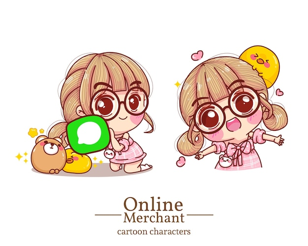 Character of cute girl  illustration .