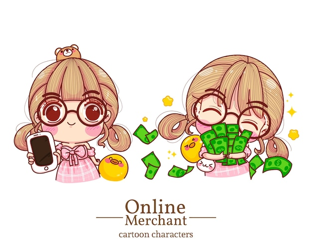 Character of cute girl online merchant holding mobile and embrace money cartoon set illustration .
