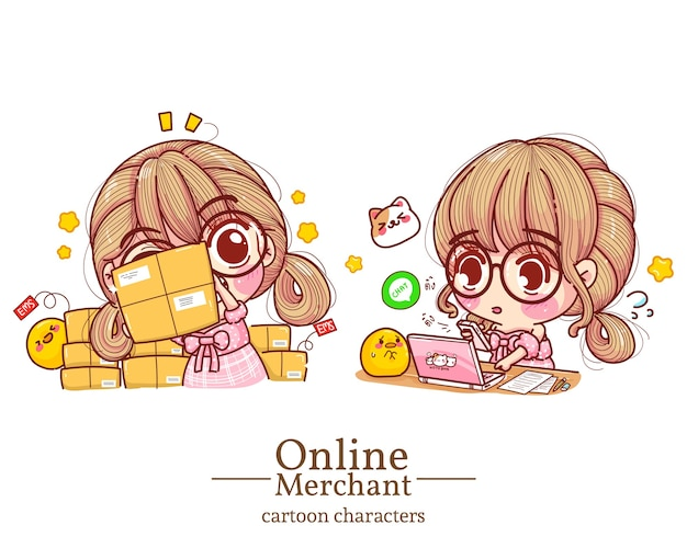 Character of cute girl online merchant was holding boxes and pressing mobile order on laptop cartoon set illustration .