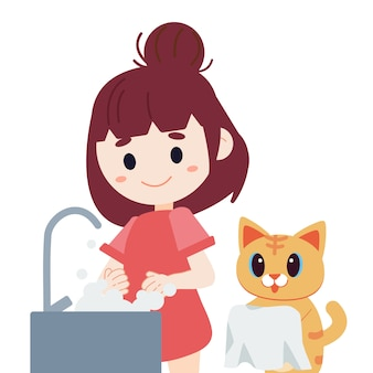 Character of cute girl washing hands with soap bubble.
