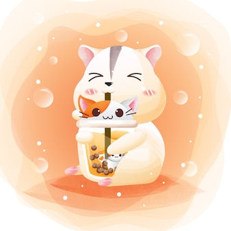 The character of a cute hamster with pearl tea cat.
