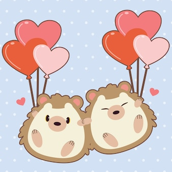 The character of cute hedgehog holding a heart balloon