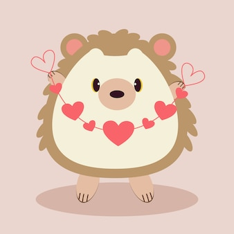 The character of cute hedgehog holding a ribbon of heart