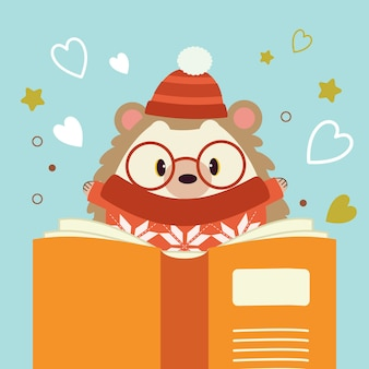 The character of cute hedgehog reading a big book