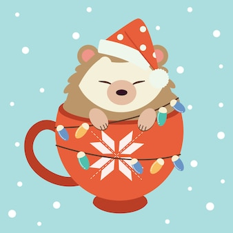 Character of cute hedgehog sitting in the big red cup.