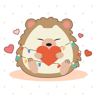 The character of cute hedgehog sitting on the ground and holding a heart.