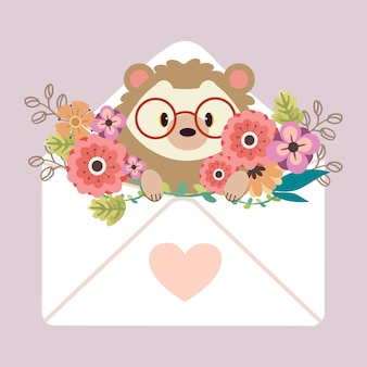 The character of cute hedgehog sitting in the letter with heart sticker and flower