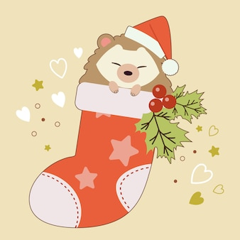 The character of cute hedgehog sitting in the sock with holly leaves on the yellow background and heart and star.