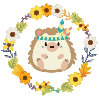 The character of cute hedgehog in tribal theme with flower ring