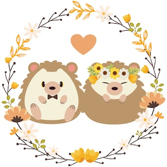 The character of cute hedgehog wedding with the flower ring