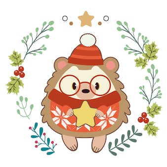 Character of cute hedgehog with christmas ring.