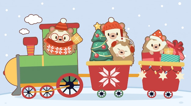 The character of cute hedgehog with christmas train on blue