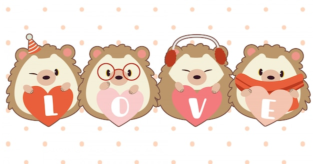 The character of cute hedgehog with heart and text of love