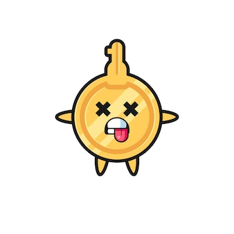 Character of the cute key with dead pose , cute design