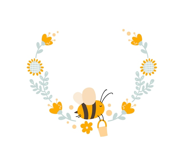 Character of cute kids bee honey with flower wreath on the in flat vector scandinavian style.