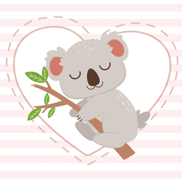 The character of cute koala hugging the tree branch on the white heart on the pink background. the character of cute koala sleepping with tree branch. the character of cute koala in flat  style.