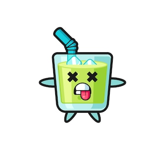 Character of the cute melon juice with dead pose , cute style design for t shirt, sticker, logo element