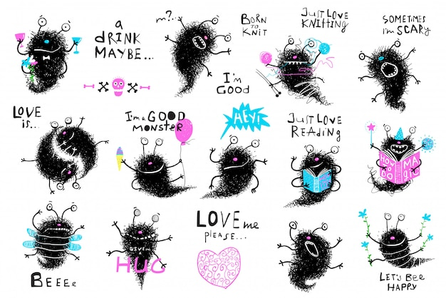 Character cute monster big collection. bundle of funny hand drawn monsters cartoon.