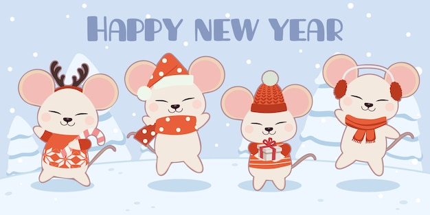 The character of cute mouse in christmas theme set.