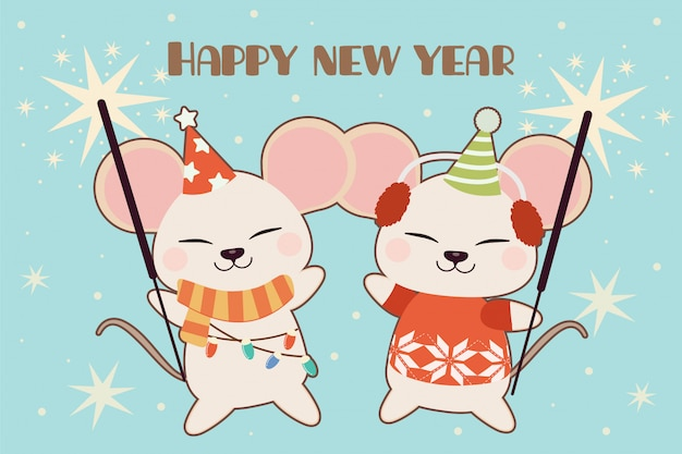 The character of cute mouse dancing in the party with sparklers.